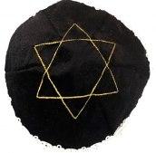 Jarmułka aksamit czarna - haft złoty